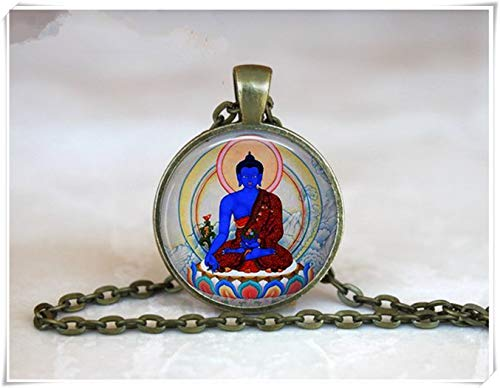 we are Forever family Blue Buddha Pendant ,Sitting Buddha Necklace, Thai Buddha Necklace, Praying Buddha Necklace