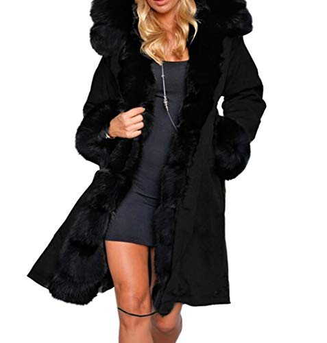 YIhujiuben Women's Hoodie Faux-Fur Collar Long Overcoat for sale  Delivered anywhere in USA
