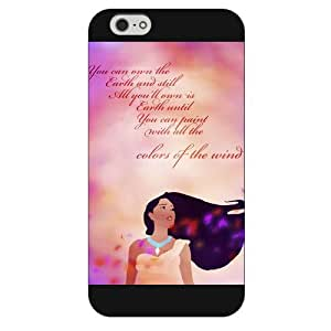 Customized Black Frosted Disney Princess Pocahontas iPhone 6 Plus Case, Only fit iPhone 6+ 5.5""