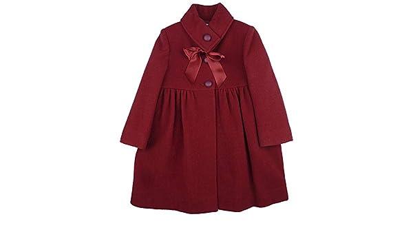 FOQUE - Abrigo de paño para niña Adornado con Lazo de Raso en el Cuello. Color Rojo. Forro Interior. Última Talla (4 años): Amazon.es: Ropa y accesorios