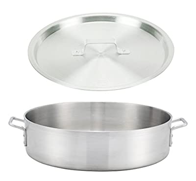 """Winco ALBH-24, 24-Quart 17.3"""" x 6"""" Precision Extra-Heavy Aluminum Brazier Pan with Cover, Heavy-Duty Commercial Grade Braiser Pan with Lid, NSF"""