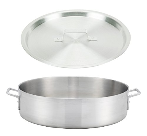 Winco ALBH-40, 40-Quart 22.8'' x 6'' Precision Extra-Heavy Aluminum Brazier Pan with Cover, Heavy-Duty Commercial Grade Braiser Pan with Lid, NSF by Winco