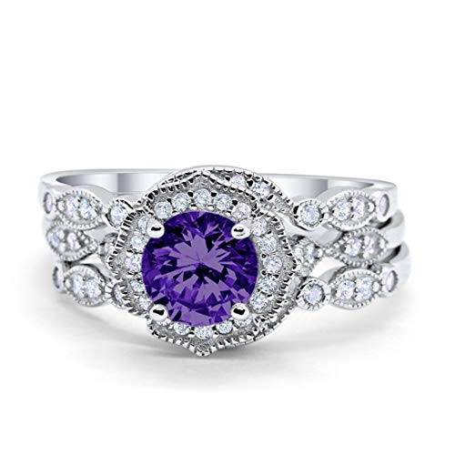 Blue Apple Co. Hao Three Piece Wedding Engagement Bridal Set Art Deco Ring Band Solid Simulated Amethyst 925 Sterling Silver, Size-10 ()