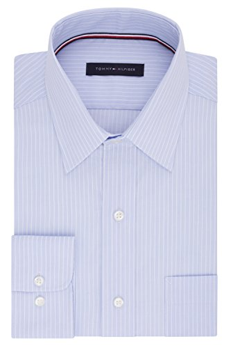 (Tommy Hilfiger Men's Pinpoint Regular Fit Solid Button Down Collar Dress Shirt, 16