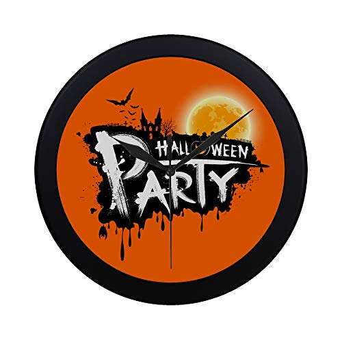 Modern Simple Halloween Party Text Design On Orange Background Pattern Wall Clock Indoor Non-ticking Silent Quartz Quiet Sweep Movement Wall Clcok For Office,bathroom,livingroom Decorative 9.65 Inch