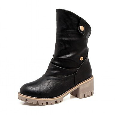 Heart&M Mujer Zapatos Semicuero Primavera Invierno Botas Camperas Botas de Moda Botas Tacón Robusto Dedo redondo Botines Hasta el Tobillo Lunares yellow
