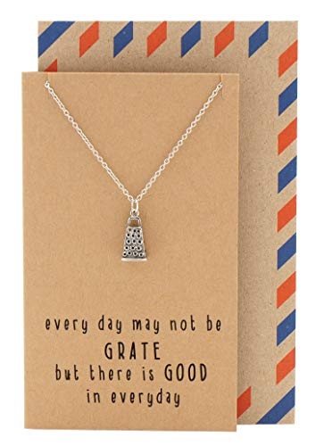 Quan Jewelry Cheese Grater Pendant Chef Necklace, Gifts for Women with Motivational Quotes on Greeting Card
