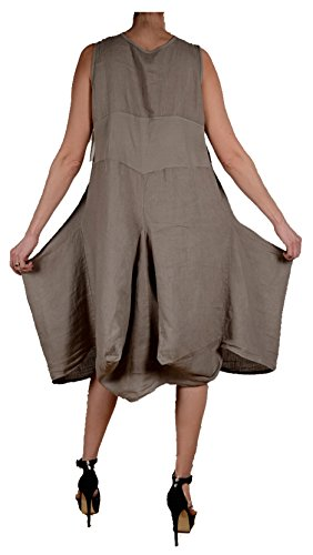 Sommer pure Leinen assymetrisch Kleid Tunika zipfelig Lagenlook 42 44 46 48 M L XL XXL Beige Strand Urlaub