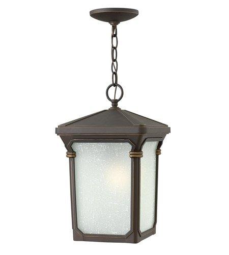 Stratford Pendant Finish - Outdoor Pendant 1 Light With Oil Rubbed Bronze White Linen Seedy Glass Aluminum Medium Base 10 inch 100 Watts