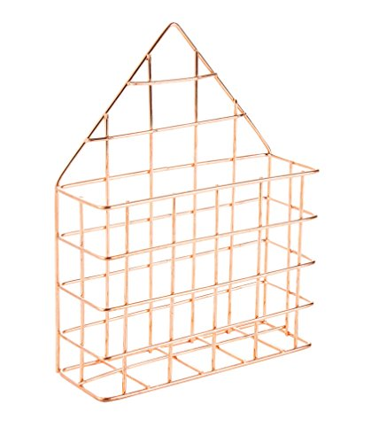 Mail Holder - Wire Metal Wall-Mount Letter Organizer, Decorative Mail Organizer for Office, Home, Entryway, Rose Gold Office Accessory, 6 x 7.6 x 2.1 inches