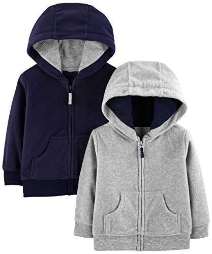 Simple Joys by Carter's Boys' 2-Pack Fleece Full Zip Hoodies, Gray/Navy, Newborn