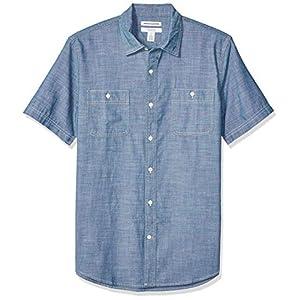 Amazon Essentials Men's Slim-fit Short-Sleeve Chambray Shirt