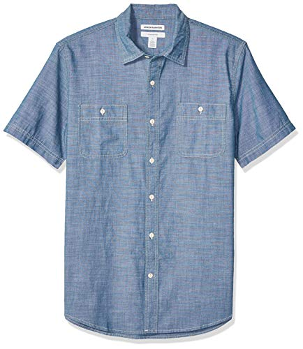 Amazon Essentials Men's Standard Slim-Fit Short-Sleeve Chambray Shirt, Rinsed, X-Large