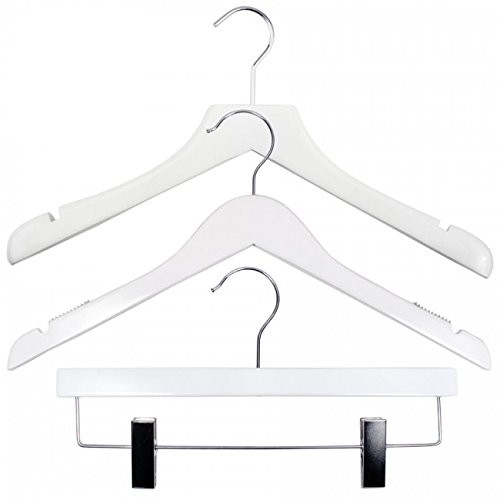 NAHANCO 20517HUSK Wood Clothes Hanger Kit - High Gloss White (Pack of 79) by NAHANCO