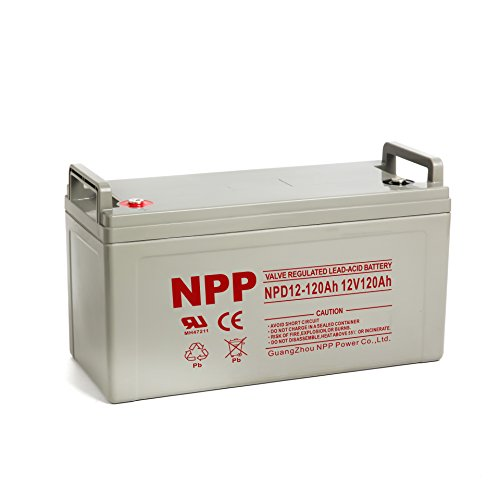 NPP 12V 120 Amp NPD12 120Ah Rechargeable AGM Deep Cycle Battery With Button Style Terminals by NPP