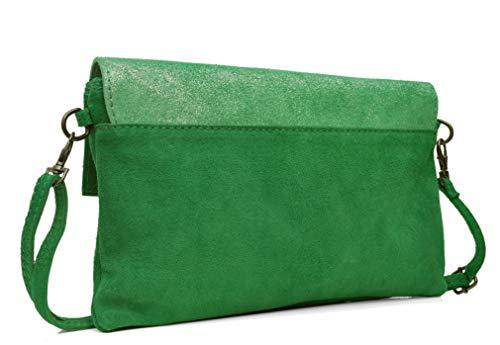 h E cm Cuir Sac en Lae cm Italie de Velours Forêt x cm Irisés Fabriqué x et In 2 Vachette matière Vert 27 pochette Pailletés 17 L Veau bi 6gHvx