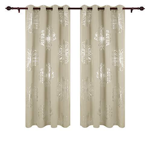 Deconovo Verdunkelungsvorhänge Ösen Vorhang Wohnzimmer Thermogardinen Blickdicht 245x140 cm Beige 2er Set