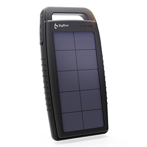 Solar Charger BigBlue 10000mAh Solar Power Bank IPX4 Waterproof Anti-Shock Dual USB Ports Emergency Solar Powered Charger with 6 LED Light Fast Charging for Cellphone Tablet and More Devices (Black) (Black-15000mAh)