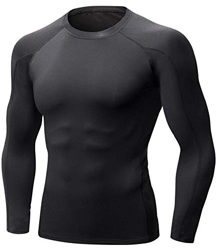 Men's Thermal Winter Gear Compression Underwear Baselayer Long Sleeve for Cold Weather Tops (L, Black)