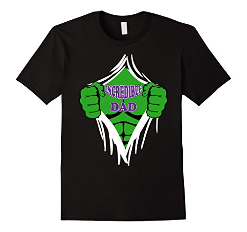Mens Incredible Dad Shirt Superhero Shirt Unique Fathers Day 3XL Black for $<!--$19.99-->
