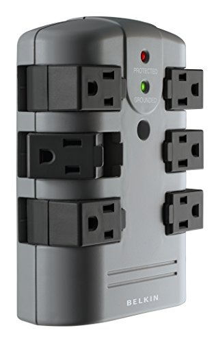 Belkin 6-Outlet Pivot-Plug Surge Protector w/ Wall Mount - Ideal for Mobile Devices, Personal Electronics, Small Appliances and More (1,080 Joules) (Belkin Six Outlet Wall Mount)