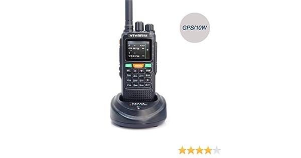 YIYAN Walkie Talkie YI-889 - Radio GPS DE 10 W con Doble Banda VHF UHF y Aficionado a la Radio, con Auricular y Cable de programación para Bicicleta de Supervivencia y Senderismo