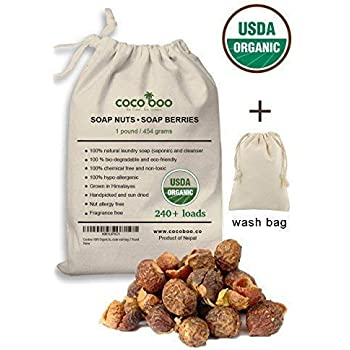 Cocoboo 100% Organic Soap Nuts, USDA Organic Certified, Handpicked & Sun Dried, Laundry Soap Hypoallergenic, Chemical Free, 240+ Loads, Include wash Bag, 1 Pound