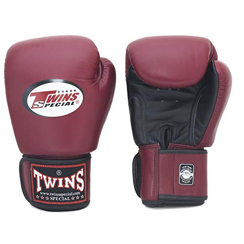 Twins Gloves for Training and Sparring Boxing, Muay Thai, Kickboxing, MMA (Black/Maroon Red,12 oz)