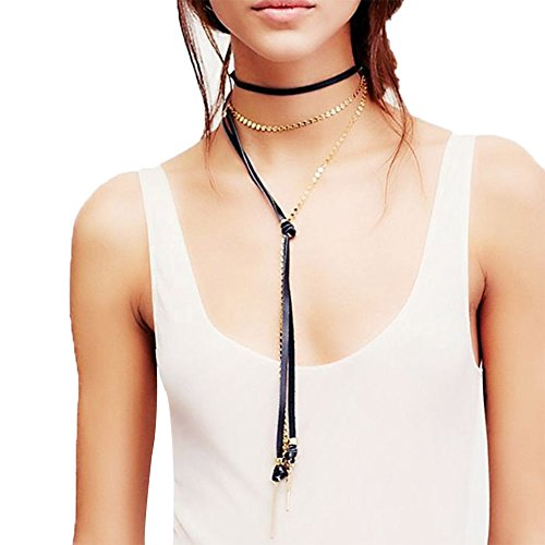 Xife Women Stunning Lariat Necklace Choker Long Vintage Chains Charm Necklet (Vintage Black & Gold Necklace)