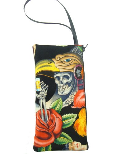 [USA Handmade Fashion RED FLOWER SKELETON CONTIGO USA Handmade COSMETIC BAG Handbag Purse Alexander Henry COTTON Fabric, LCB] (Skeleton Makeup)