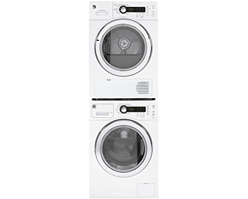 GE White Compact Laundry Pair with WCVH4800KWW 24' Washer, DCVH480EKWW 24' Electric Dryer and GE24STACK Stacking Kit in White