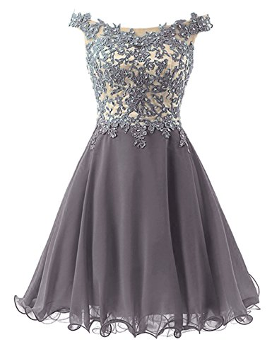Lace Prom Dresses Homecoming Short Chiffon Bodice Cdress Formal Gowns Beads Straps Gray RnxWFE