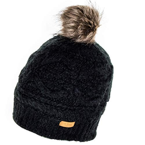 521fc97e2cbc6 Barts Antonia Faux Fur Bobble Hat - Black  Amazon.co.uk  Clothing