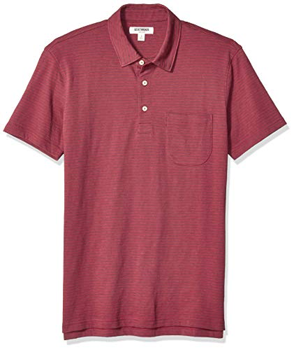 Goodthreads Men's Short-Sleeve Lightweight Slub Polo, Burgundy, Medium