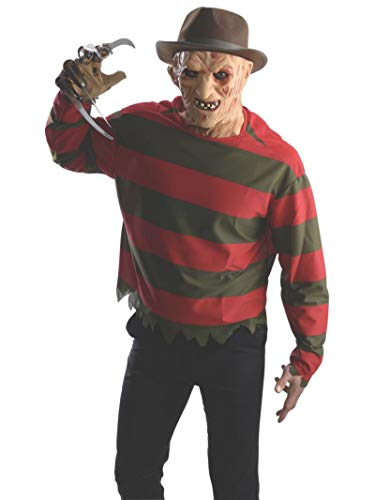 Halloween Costumes On A Budget For Adults (Rubie's Men's Nightmare On Elm St Freddy Krueger Costume Shirt with Mask, Multicolor,)