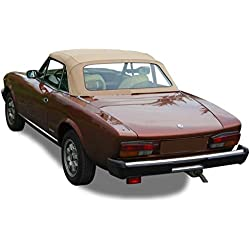 Compatible With Fiat 124 Spider CS2,1600, 1800 Convertible Soft Top 1979-1985 Pinpoint Vinyl (Tan)