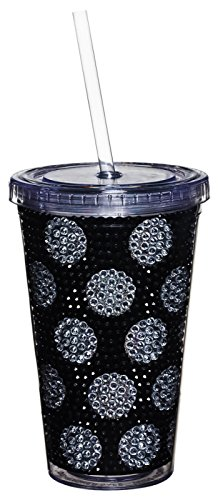 Gifted Living Polka Dot Bling Insulated Cup with Straw and Lid, Black/Silver