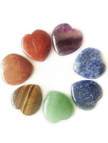 Heart Shaped Decorations - Amoystone 7 Chakra Heart Shaped Stones 1