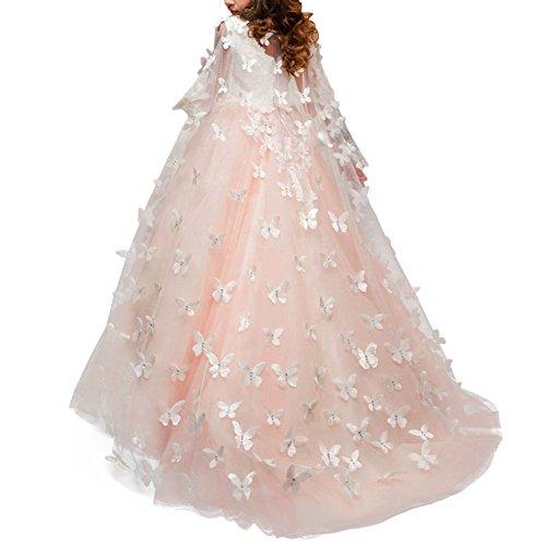 13 Maxi Mangas Baile Apliques Flor OBEEII Cumpleaños Sin Primera O Boda Prom Decoración de años 2 Honor de Dama Rhinestone de para Encaje Vestido Vestido de Niñas Comunión amp; Rosa Blanco Bordado Fiesta Niñas SqwPf