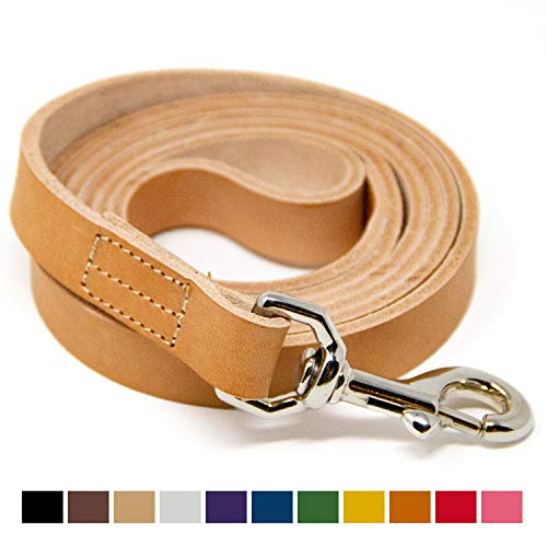Logical Leather 5 Foot Dog Leash - Best for Training - Water Resistant Heavy Full Grain Leather Lead - Tan