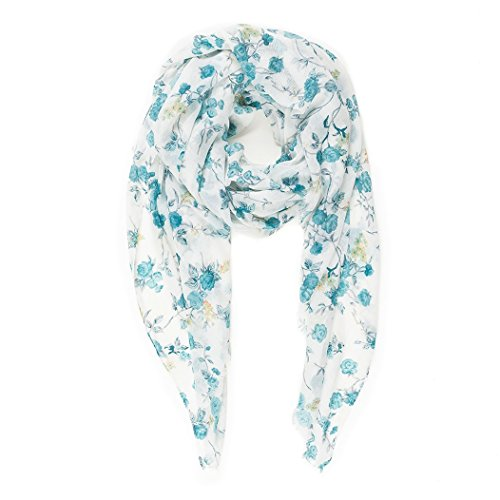 Scarf for Women Lightweight Spring Winter White Turquoise Floral Flower Scarves Head Shawl Wraps by Melifluos (Turquoise Floral Skirt)
