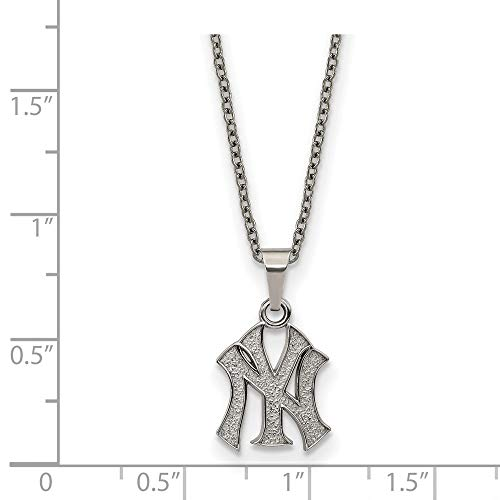 MLB New York Yankees Stainless Steel New York Yankees Pendant on chain with 2 in ext Necklace Size One Size