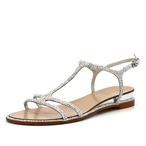 del zapatos planos verano para Plata sandalias zapatillas puntos de tela amp; de densa casual del TMKOO con imitación de de tela párrafo diamantes mujeres 1FSWqwB7