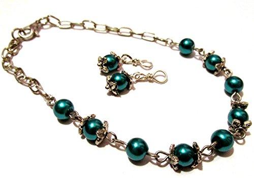 Teal blue doll jewelry set