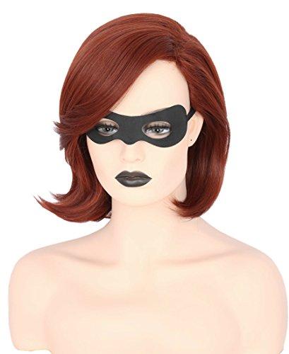 Womens Hair Wigs Brown Bob Wig Short Cosplay Halloween Costumes Wig with Eye Masks