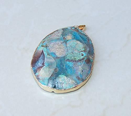 Ocean Jasper Faceted Pendant - Ocean Jasper Druzy Faceted Pendant - Blue, Mint Green, Rose Color Matrix- Gold Plated Edge and Bail 55mm - -