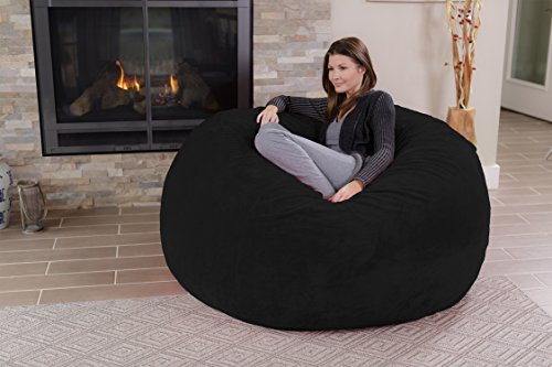 Chill Sack Bean Bag Chair: Giant 5' Memory Foam Furniture Bean Bag - Big Sofa with Soft Micro Fiber Cover - Black Furry