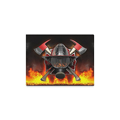 Fire Oil Painting - EMT Firefighter Emblem,Fire Rescue,Fire Department oil-paintings Home Decoration Canvas Prints- 16x12 Inch(One Side)