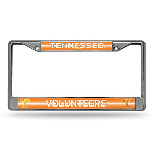 (NCAA Tennessee Volunteers Bling Chrome License Plate Frame with Glitter Accent)