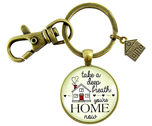 New Home Keychain Take a Deep Breath First House Apartment Men Womens Gift Idea Key Chain From Realtor (Best Mortgages For First Time Buyers)